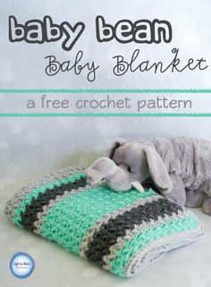 Free crochet pattern: Baby Bean Baby Blanket with video tutorial by Left in Knots