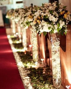 45 Breathtaking Church Wedding Decorations- 45 Breathtaking Church Wedding Decorations I like the idea of fairy lights being used somehow – maybe the reception centerpieces. Prettier after dark - Church Wedding Decorations Aisle, Wedding Church Aisle, Wedding Centerpieces, Wedding Bouquets, Church Weddings, Church Wedding Decorations Rustic, Wedding Favors, Church Wedding Flowers, Tall Centerpiece