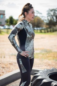 Take your workout to the next level with the athletic pullover in alpine camo by Girls With Guns Clothing.