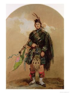 Painting of A Piper of the 79th Highlanders at Chobham Camp in 1853
