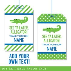 Paper goods and DIY printables for parties and holidays Alligator Birthday Parties, Alligator Party, 3 Year Old Birthday Party, 6th Birthday Parties, Birthday Party Favors, Baby Alligator, Party Party, Crocodile Party, See You Later Alligator