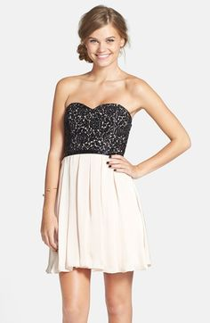 Free shipping and returns on Sequin Hearts Lace Bodice Skater Dress (Juniors) at Nordstrom.com. A sweetheart bodice textured with sequined floral lace and an embellished waistband complement the swingy pleated skirt of an ultra-girly skater dress.