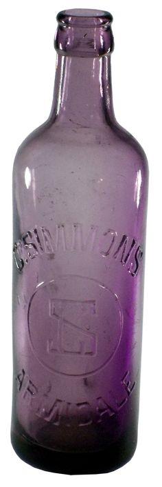 Simmons Armidale Crown Seal Lemonade. c1910s Antique Bottles, Vintage Bottles, Recycled Bottles, Bottles And Jars, Antique Glass, Glass Bottles, Mason Jars, Glass Collection, Purple Amethyst