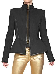 3805c2c8d6aa FAITH CONNEXION - STRUCTURED WOOL JACKET WITH NAPPA PIPING - LUISAVIAROMA -  LUXURY SHOPPING WORLDWIDE SHIPPING