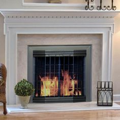 Pleasant Hearth Grandior Bay Fireplace Screen and Bi-Fold Track-Free Elegant Clear Glass Doors - Antique Brass - Fireplace Screens at Hayneedle Brass Fireplace Screen, Media Fireplace, Fireplace Glass Doors, Fireplace Screens, Fireplace Hearth, Fireplaces, Fireplace Ideas, Folding Doors, Electric Fireplace