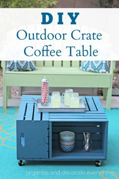 DIY Outdoor Crate Coffee Table. Why didn't I make this sooner? It add so much more space for storage and entertaining. @BehrPaint #BEHR #BEHRMarquee #ad