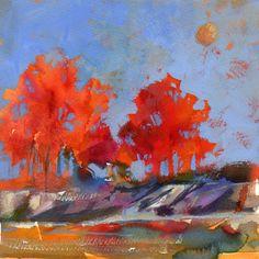 "Sharon Lynn Williams' Art Blog: ""A Splash of Fall"", watercolor and gouache painting by Sharon Lynn Williams"