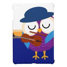 Retro Owl Musician Violin iPad Mini Cases