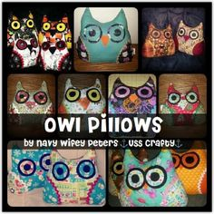 Navy Wifey Peters Aboard the USS Crafty: Owl Pillows Owl Pillows, Mondays, Tuesday, Sewing Projects, Crochet Patterns, Crafty, Love, Creative, Amor