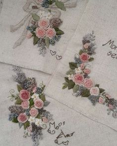 Wonderful Ribbon Embroidery Flowers by Hand Ideas. Enchanting Ribbon Embroidery Flowers by Hand Ideas. Embroidery Tools, Rose Embroidery, Hand Embroidery Stitches, Silk Ribbon Embroidery, Hand Embroidery Designs, Embroidery Applique, Cross Stitch Embroidery, Embroidery Patterns, Embroidery Needles