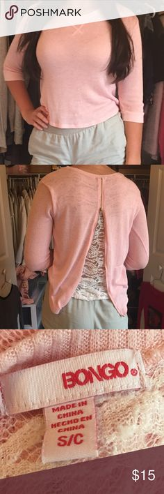 Pink/lace shirt Cute and has lace back BONGO Tops