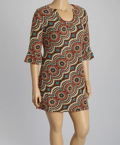 Another great find on #zulily! Brown & Orange Arabesque Sweater Dress - Plus by Aryeh #zulilyfinds