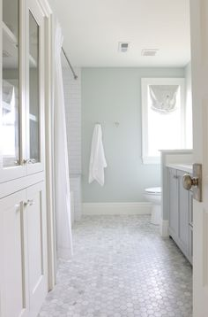 "Wall paint color is Sherwin Williams ""Sea Salt"".  Beautiful bathroom. Studio McGee"