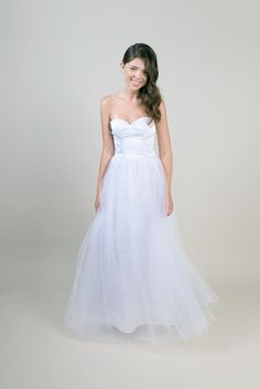 Strapless Wedding dress / Floor length tulle wedding gown - made to order
