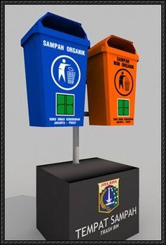 Jakarta Trash Bin Free Paper Model Download - http://www.papercraftsquare.com/jakarta-trash-bin-free-paper-model-download.html