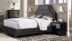 Parisian Modern Grey Nailheads Velvet King Bed