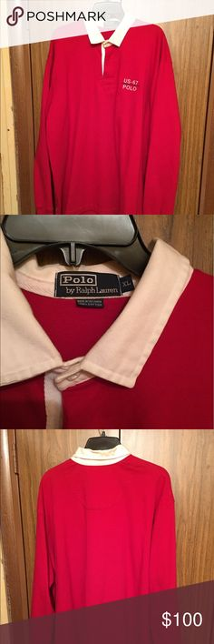 Ralph Lauren Red White Collar US-67 Polo Rugby XL Red with white collar long sleeve Rugby Polo by Ralph Lauren Shirts Polos