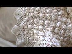 Manta o cobija para cuna de bebé tejida en horquilla y crochet - YouTube