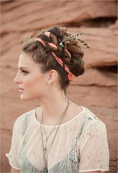 boho chic - Frida Kahlo inspired. Love the hair and the profile, and the tops.