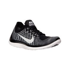 Nike Women's Free 4.0 Flyknit Running Shoes, Black|Grey (450 SAR) ❤ liked on Polyvore featuring shoes, athletic shoes, flyknit shoes, black athletic shoes, nike, special occasion shoes and grey evening shoes