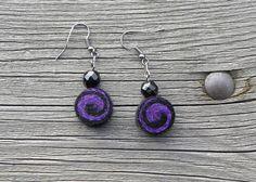 Goth earrings, dark earrings, dark violet,88, felt earrings, lightweight, dark jewelry, unique pattern, goth, punk, metal earrings