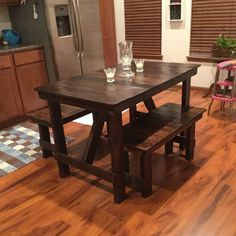 4' Dining Table & 2-Bench Set Reclaimed Wood by SereneVillage