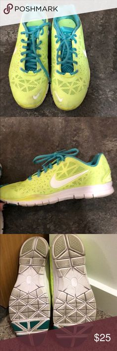 Nike free 5.0 size 8.5 Very lightly worn. Excellent condition, smoke free home. Kind of a neon yellow / turquoise. Nike Shoes Sneakers