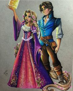 Gorgeous Rapunzel and Flynn, done by: @maxxstephen!