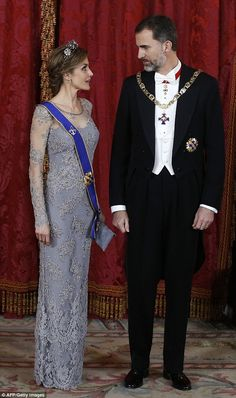 King Felipe and Queen Letizia welcomed 100 guests to an official dinner for the President ...