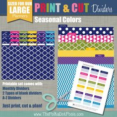Our New PRINT & CUT Dividers are the perfect addition to your planner and coordinate beautifully with our Seasonal, Signature and Simplistic New Print, Print And Cut, Small Planner, Printing Supplies, Custom Planner, Planner Pages, Planner Ideas, Cover Pages, Dividers
