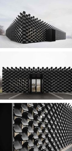 In a creative use of modern architecture, studio CHYBIK+KRISTOF clad a furniture gallery in over 900 black plastic seats. The result is an unconventional business card. #modernarchitectureblack