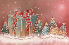 クリスマスイラストのPSDレイヤーを描いたパステルの手