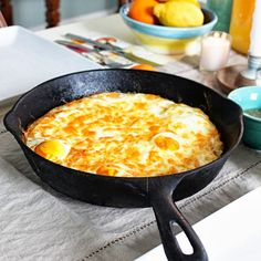 Baked Eggs with Hashbrown Crust - I did this with smooshed tater crowns and a scrambled egg mix.