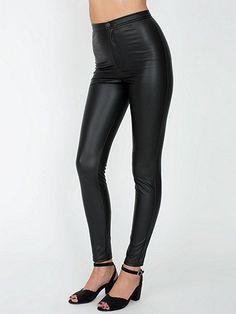 Smooth, high-waist pleather pants featuring a design similar to our Disco Pants.