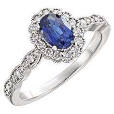 71795 / Set / White / Polished / Chatham Created Blue Sapphire and CTW Diamond Ring Sapphire Jewelry, Sapphire Diamond, Halo Diamond, Blue Sapphire, Sapphire Rings, Gold Jewellery, Gemstone Jewelry, Jewlery, Jewelry For Her