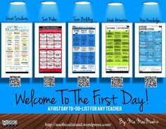The First Day of School- A Teacher's To-Do List  http://anethicalisland.wordpress.com/2013/08/19/the-first-day-of-school-a-teachers-to-do-list/
