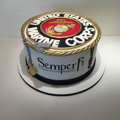United States Marine Corp Cake A cake for a young man going into the marines.thank you to this young man. Usmc Birthday, Marine Corps Birthday, Happy Birthday, 75th Birthday, Birthday Wishes, Birthday Cake, Marine Corps Cake, Military Cake, Military Party