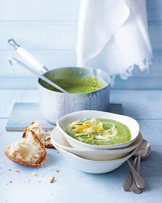 pea, courgette and parmesan soup