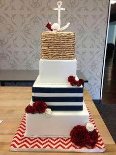 Nautical wedding cake by tuatha nautical wedding cakes, seaside wedding Nautical Wedding Cakes, Nautical Cake, Seaside Wedding, Nautical Theme, Our Wedding, Dream Wedding, Camo Wedding, Pretty Cakes, Beautiful Cakes