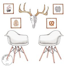 """Good Objects Illustration on Instagram: """"Good objects - Interiors concept. Eames, bison skull & art prints available at @thegiantartproject #goodobjects #illustration"""""""