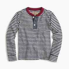 Boys' long-sleeve striped ringer henley T-shirt