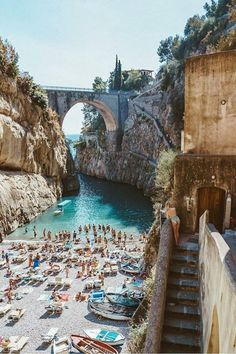 Furore is yet another popular travel destination for people heading to the Amalfi Coast. Pictures of this beach have circulated around social media likely due to the bridge overhead. The Amalfi Coast, in general, should be high on your bucket list because Travel Photographie, Amalfi Coast Italy, Amalfi Coast Beaches, Destination Voyage, Beautiful Places To Travel, Good Places To Travel, Most Beautiful Beaches, Romantic Travel, Beautiful Sunset