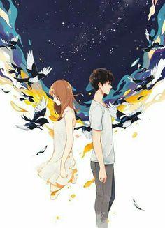 Distance are scary couple cartoon, manga couple, couple art, manga anime, manga Couple Amour Anime, Anime Love Couple, Manga Couple, Couple Cartoon, Art Manga, Anime Manga, Anime Style, Couple Illustration, Illustration Art
