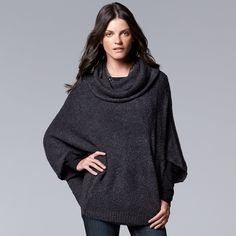 Simply Vera Vera Wang Cowlneck Sweater Poncho - Women's