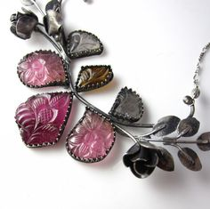 Along the Rose Bramble - Sterling silver and Tourmaline Necklace