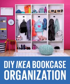 Awesome IKEA hack alert! Transform bookcases into a family locker system to help everyone keep their gear organized.