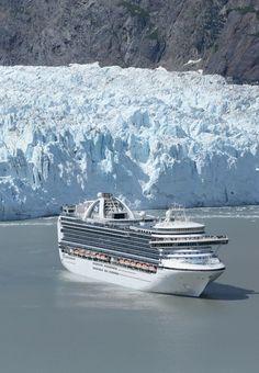 Princess cruises to Alaska from Seattle. The Crown Princess cruise ship in Glacier Bay Alaska.