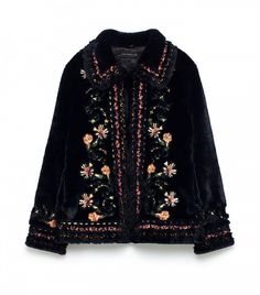 Embroidered Faux Fur Jacket by Zara