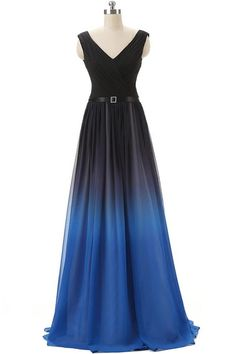 Black And #RoyalBlue Gradient #Ombre Chiffon Lace Back Up #PromDresses