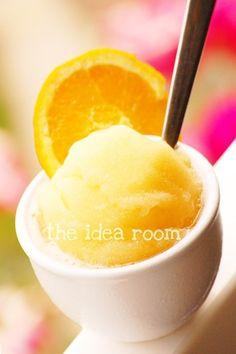 Homemade Orange Sorbet...I sure do hope that I get the ice cream maker in my registry...